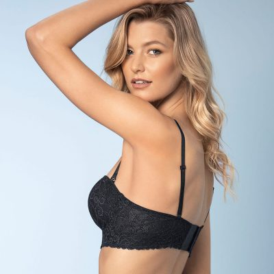 Beautiful Laced Balconette Black Push Up Bra With Wide Underbust Band.