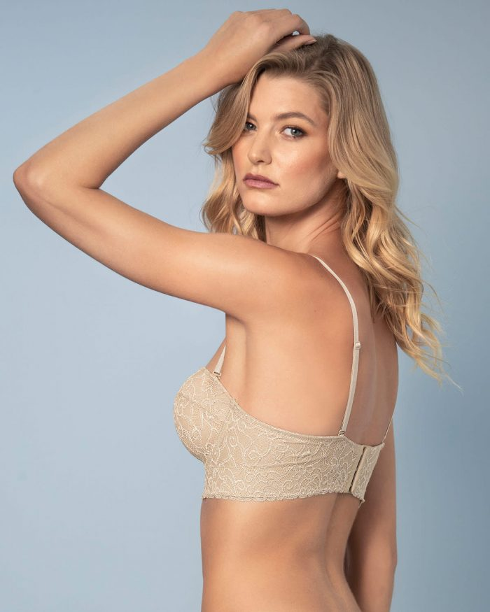Beautiful Laced Balconette Nude Push Up Bra With Wide Underbust Band.