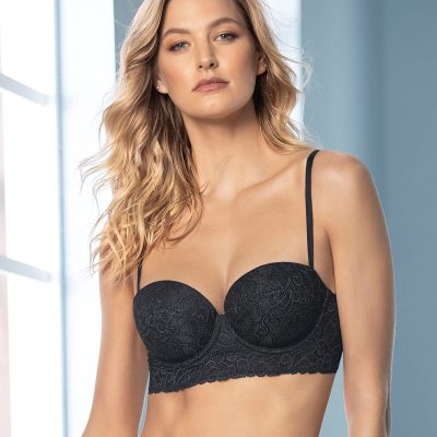 Laced Balconette Black Push Up Bra With Wide Underbust Band.