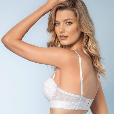 Laced Balconette White Push Up Bra With Wide Underbust Band.